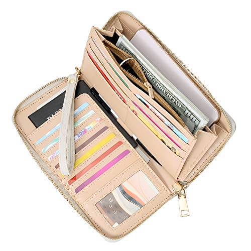 (WOZEAH Women's RFID Blocking PU Leather Zip Around Wallet Clutch Large Travel Purse (light grey))