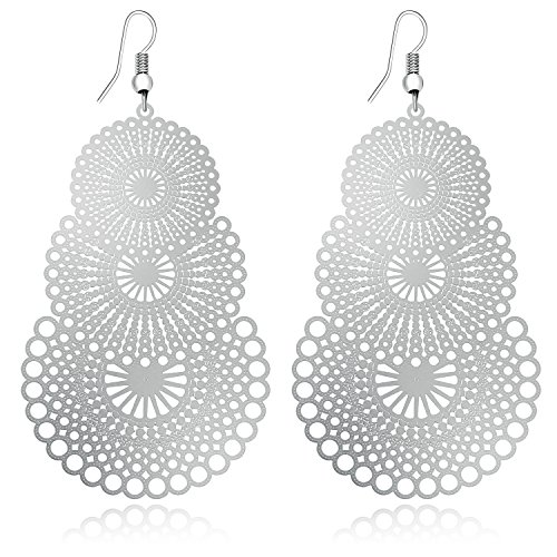 DMI Unique Jewelry Silver-Tone Alloy Hollow Out Flower Lightweight Bohemian Style Dangle Earrings