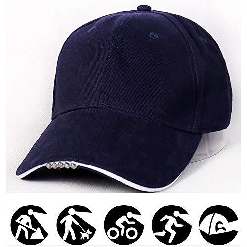 SIKOYA Baseball Hat Bump Cap for Hunting, Camping Grilling, Auto Repair, Jogging Walking with 5 LED Flashlight Brim Lighting (Blue)