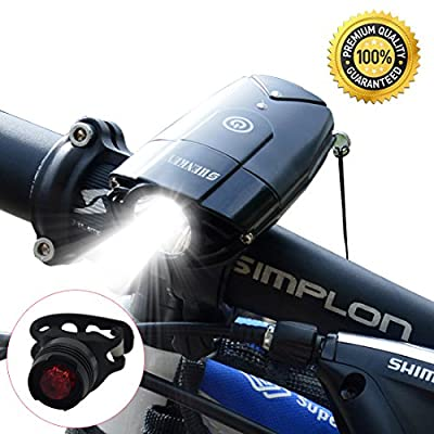 BIKE LIGHT SET | 2000mAh/1000 Lumen LED Bicycle Front Light & Tail Light , Super Bright Bike Headlight USB Rechargeable, Waterproof Light for Bike / Flashlight for Mountain & Kids & Street Bicycle
