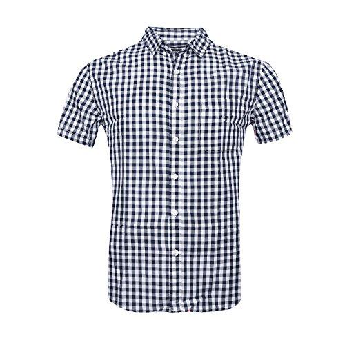 (AVANZADA Men's Casual Plaid Short Sleeve Button Down Shirts Navy)