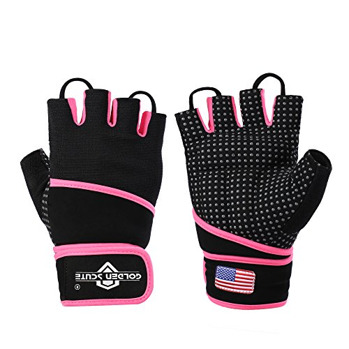 - Golden Scute Workout Gloves for Women Men,Knuckle Weight Lifting Shorty Fingerless Gloves Training Gloves with Wrist Support for for Weightlifting, Gym,Cross Training (Pink,Large/Size 9)