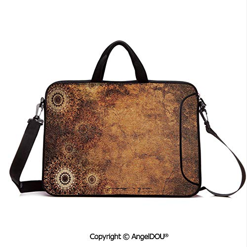 AngelDOU Customized Neoprene Printed Laptop Bag Notebook Handbag Aged Old Texture Print Artistic Floral Motifs Vintage Upholstery Concept Compatible with mac air mi pro/Lenovo/asus/acer Brown - Style Upholstery Designer Floral