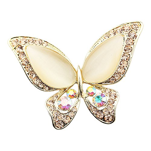 FOY-MALL Metal and Opal Crystal Rhinestone Butterfly Brooch XZ1023