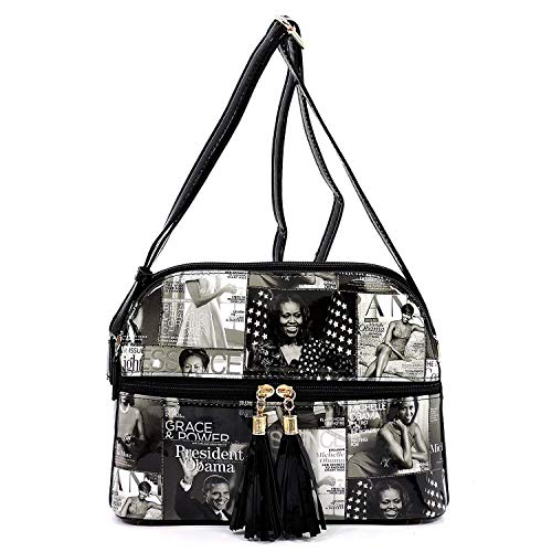 Glossy magazine cover collage multi compartments crossbody bag purses Michelle Obama bags with tassels (GY/BK)