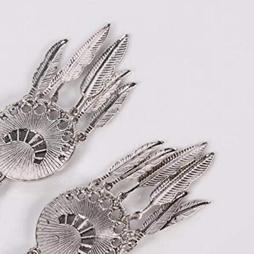 Vintage Clip on Dangle Earrings for Girls Leaf Feather Charm Round Crystal Stone Bohemian Ethnic Drop