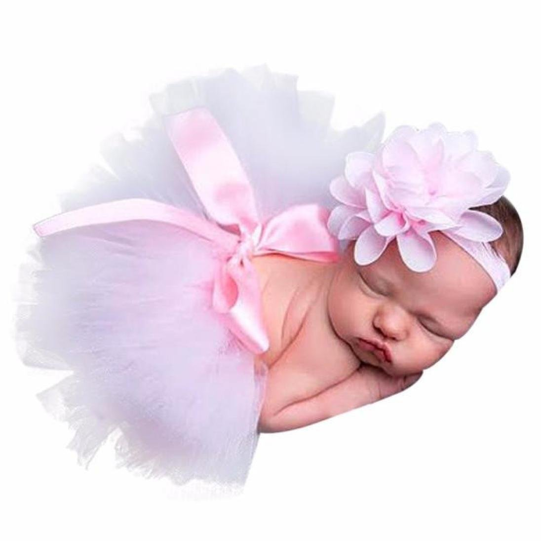 Evansamp Newborn Baby Girls Pink Flower Hairband Bowknot Tutu Skirt Photo Photography Costume Prop Outfits