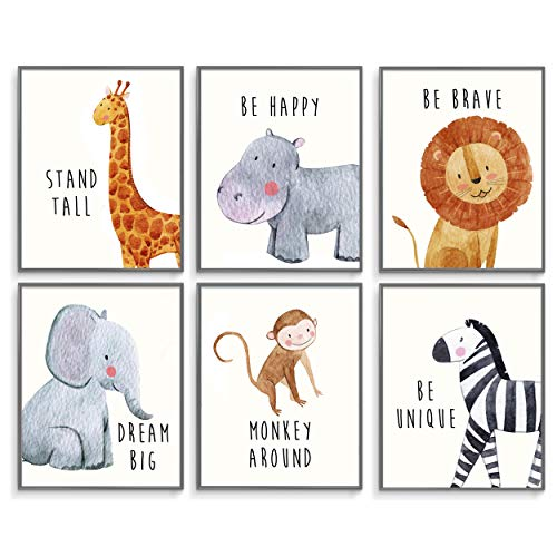 Safari Baby Animals, Baby Nursery Decor, Baby Room Decor, Playroom Wall Art Decor Prints, Boys & Girls Room, Kids Bedroom Inspirational Quotes, Motivational Art, Inspirational Art. Set of 6 8x10in. from Throwback Traits