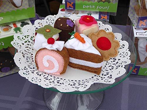 Conjunto de té de comida de fieltro, Galletas, Petit Fours, Pastel de zanahoria, galleta con chispas de chocolate, Frambuesa