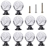 glass kitchen cabinets IFOLAINA 10 Pcs Crystal Cabinet Knobs Round Glass Kitchen Cupboard Drawer Dresser Bookcase Pull Handle with 3 Size Screws