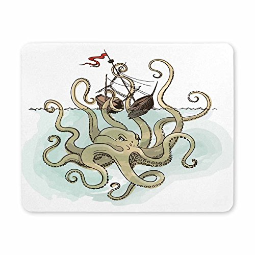InterestPrint Oblong Shaped Mouse Mat Vessel and Monster Octopus Design Natural Eco Rubber Durable Mouse Pad