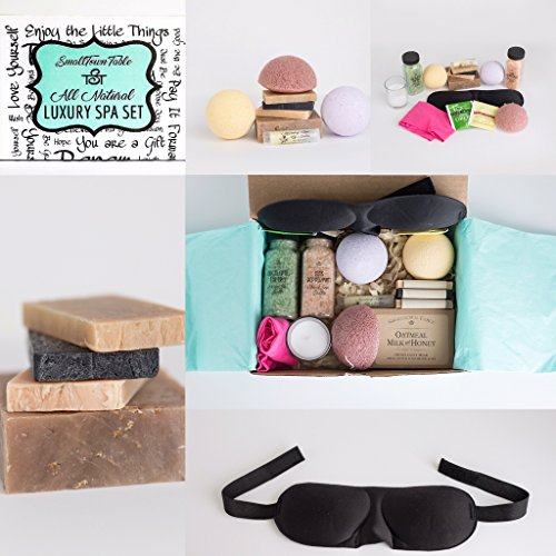 Spa Kit Relaxation Gift Set Two Bath Bombs, Bath Salt, All Natural Handmade Soaps, Konjac Sponge, Sleep Mask, Lip Balm, Candle, Tea, Headband, Upscale Bath and Body Spa Package Organic by SmallTown Table (Image #1)