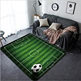 Vanfan Design Home Decorative soccer football on grass field Modern Non-Slip Doormats Carpet for Living Dining Room Bedroom Hallway Office Easy Clean Footcloth