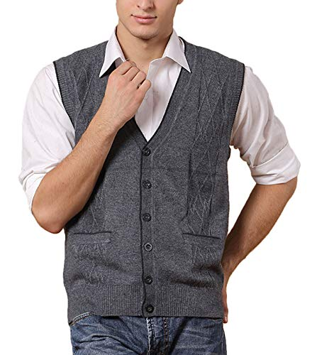 Z&A Men's Relax Fit Knitted Argyle V-Neck Sweater Vest with Front Button (Medium, Dark Grey)