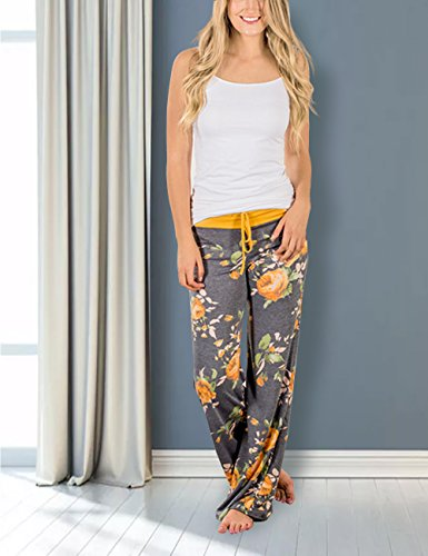 Palazzo Femeninos Pantalones Pijama Alta Con Exlura Cintura Ancha Floral Amarillo Pierna Estampado De 58Fwx