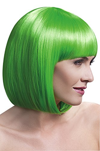 [Fever Women's Elise Wig 13Inch 33Cm Sleek Bob with Fringe, Neon Green, One Size] (Neon Green Wigs)