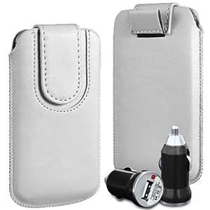 Direct-2-Your-Door - Samsung Galaxy Mini S5 superior de la PU del cuero del caso del tirón de la bolsa con pestaña cierre magnético y USB Bullet Car Charger - White