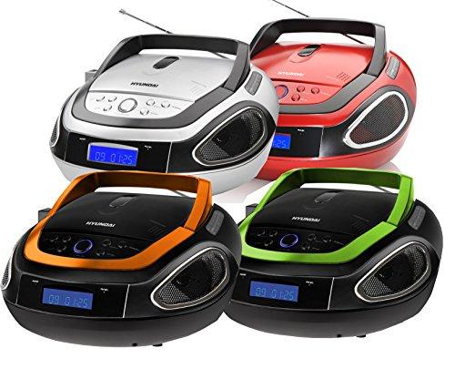 HYUNDAI Tragbarer CD MP3 Player USB Radio Tragbares CD-Radio Boombox Stereoanlage (Schwarz / Orange)