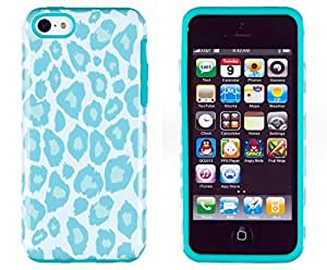 Sunshine Case 2in1 Hybrid High Impact Hard Sea Green Leopard Pattern + Silicone Case Cover For Apple iPhone 5C + Sunshine Case Screen Cleaner