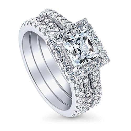 BERRICLE Rhodium Plated Sterling Silver Princess Cut Cubic Zirconia CZ Halo Engagement Wedding Insert Ring Set 2.36 CTW Size 7