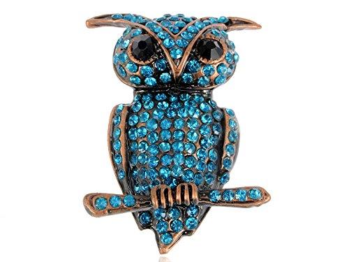 Owl Bird Pin - Alilang Light Blue Rhinestones Little Owl Hoot Bird Branch Brooch Pin