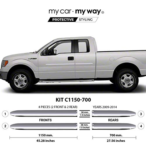 MY CAR MY WAY (Fits) Ford F150 2009-2014 8′ Box Supercab Chrome Body Side Molding Cover Trim Door Protector