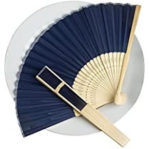 BalsaCircle 50 Navy Blue Decorative Silk Fabric Folding Handheld Hand Fans - Wedding Birthday Party Favors Decorations Supplies Bulk