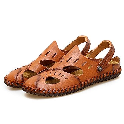 Planas la los los de Sandalias del de Manera Hombres Hombres Brown Genuino Sandalias de de Masculina Verano Auspiciousi Sandalia Cuero Goma de q5tZ7wnxw