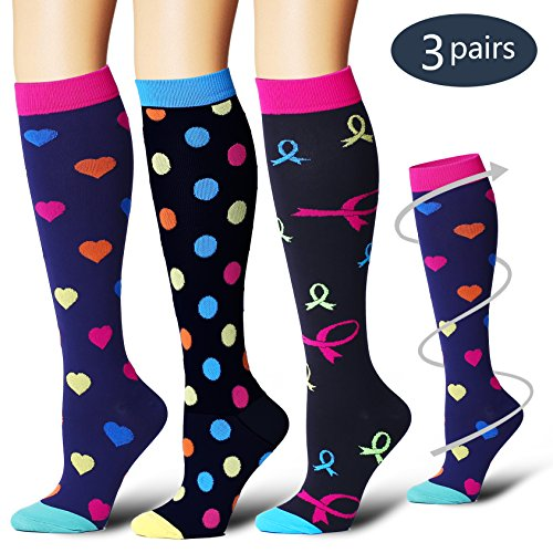 BLUETREE Compression Socks,(3 pairs) Compression Sock for Women & Men - Best For Running, Athletic Sports, Crossfit, Flight Travel(Multti-colors9-L/XL) by BLUETREE