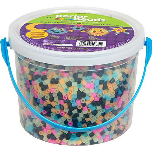 Perler 42774 Glow in The Dark Activity Bucket (Fun Shapes Fuse Bead Kit)