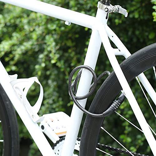 PVC ABS Negro 1200mm * 8mm 4 d/ígitos Combinaci/ón Contrase/ña Bicicleta Bicicleta Cerradura Cable de Acero Cable de Seguridad Justdodo Manganeso Acero L x Dia