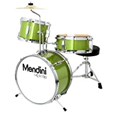 Mendini by Cecilio 13 inch 3-Piece Kids/Junior Drum Set with Throne, Cymbal, Pedal & Drumsticks, Metallic Green, MJDS-1-GN