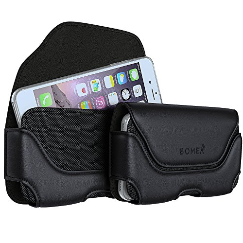 BOMEA iPhone 6s 7 8 Holster, Leather Belt Clip Case Holster Pouch Holder Cover for Apple iPhone 6s 7 or 8 (XL Size Fits Phone with Otterbox Lifeproof Thick Armor Case on) Black