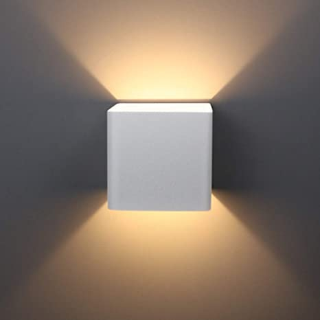 Aipsun 10w Led Cob Square White Modern Up And Down Wall Light For Indoor Wall Mount Sconce Pathway Staircase Bedroom Living Room Balcony Home Lighting Fixture Warm White 3000k