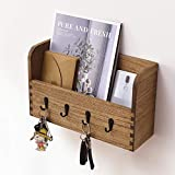 Wood Wall Mount Mail Sorter Organizer with 4 Key