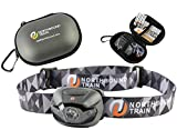 Bright LED Headlamp Flashlight and Case for Running, Camping, Kids – - White, Red, Strobe Lights with Dimmer. Light & Waterproof IPX4 with Energizer AAA Batteries