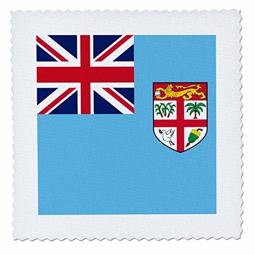 3dRose Flag of Fiji - island country in Melanesia - Union Jack on bright blue with coat of arms shield - Quilt Square, 8 by 8-inch (qs_158315_3) - Fiji Comforter