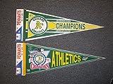 2 Vintage OAKLAND A'S ATHLETICS PENNANTS 1988 WEST CHAMPIONS 1990 A.L. CHAMPS