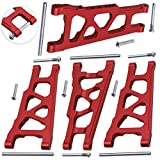 Hobbypark Front Rear Aluminum Suspension Arms w Screw pins Replacement of 3655x for RC Traxxas 1 10 Slash 4x4 4WD Stampede 4x4 Rally XO-1 Option Hop Ups (4-Pack) (Red)