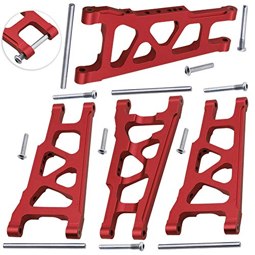 Hobbypark 4-Pack Aluminum Suspension Arms Front & Rear Replacement of 3655x for RC Traxxas 1/10 Slash 4x4 XO-1 Upgrade Parts Option Hop Ups Red