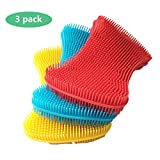 Silicone Sponge Dish Washing Kitchen Gadgets Brush Accessories (3 Pack) - Food Grade Reusable Sponges for Dishes, Heat Resistant and Without Bpa,Double Sided Silicon Brush - 3 Colors