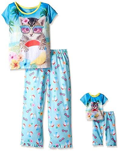 Komar Kids Girls Pajama with Matching 18 Inch Doll Sleepwear Cat Pajama, Blue, X-Small