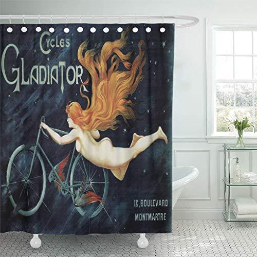 Semtomn Shower Curtain Kitsch Vintage Victorian Nouveau Cycles Belle Epoque Antique Retro 66