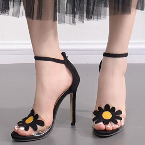 Sandals Party Sunflower Summer Suede Womens Stiletto High Heels Banquet GAOLIXIA Transparent Ladies Evening Heels Black amp; B7UqwqxY