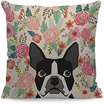 WONDERTIFY Pillow Cover French Bulldog Pet Portrait Cute Frenchie Puppy - Soft Linen Pillow Case for Decorative Bedroom/Livingroom/Sofa/Farm House - Couch Pillow Cushion Covers 18x18 Inch