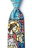 Jesus Stained Glass Blue Silk Tie