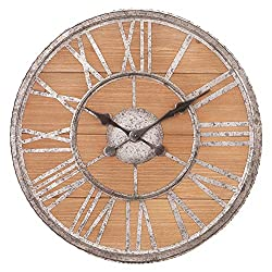 Patton Wall Decor 20 Inch Rustic Wood and Galvanized Metal Roman Numeral Wall Clock Brown