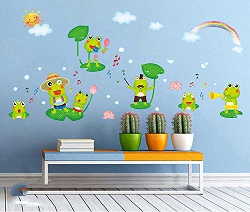Fange DIY Removable Happy Frog Cartoon Art Mural Vinyl Waterproof Wall Stickers Kids Room Decor Nursery Decal Sticker Wallpaper - Happy Nursery Frog