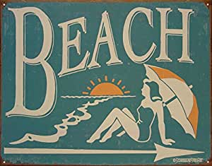 Beach Tin Sign 16 x 13in