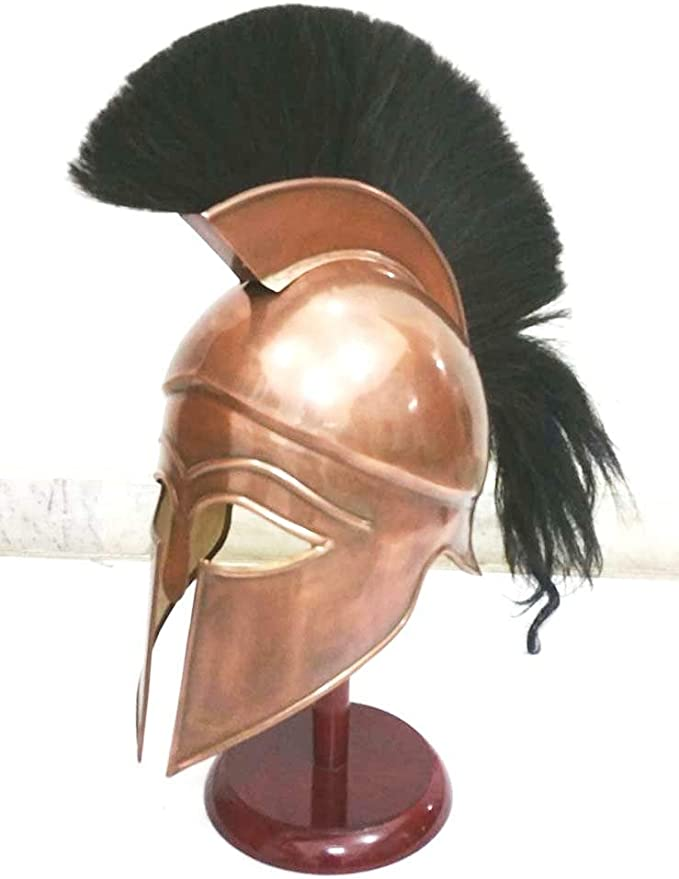 Medieval griego espartano Corinthian casco con penacho de color negro armadura casco: Amazon.es: Hogar